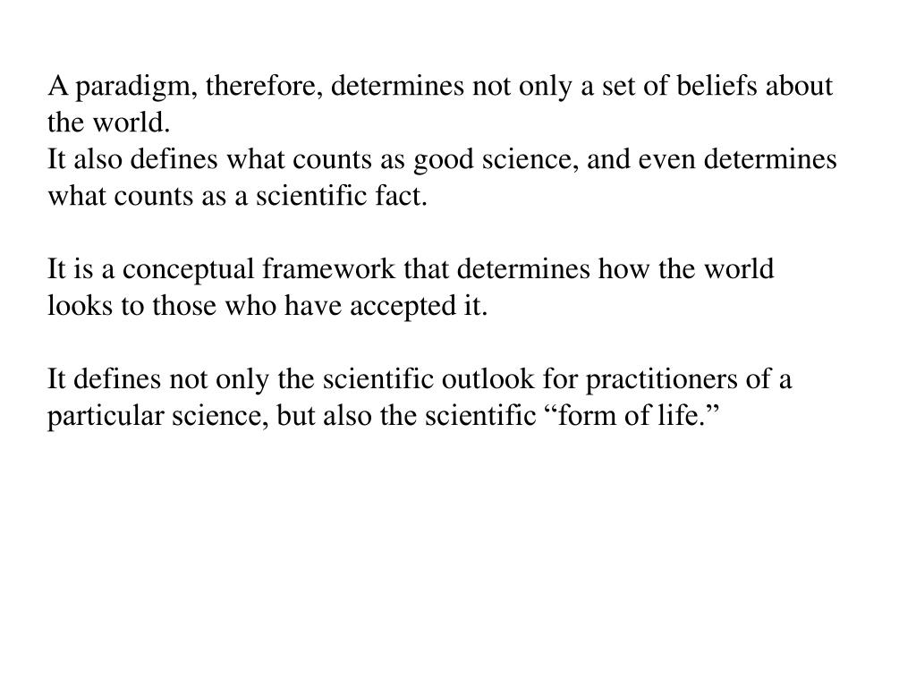 A paradigm, therefore, determines not only a set of beliefs about the world.