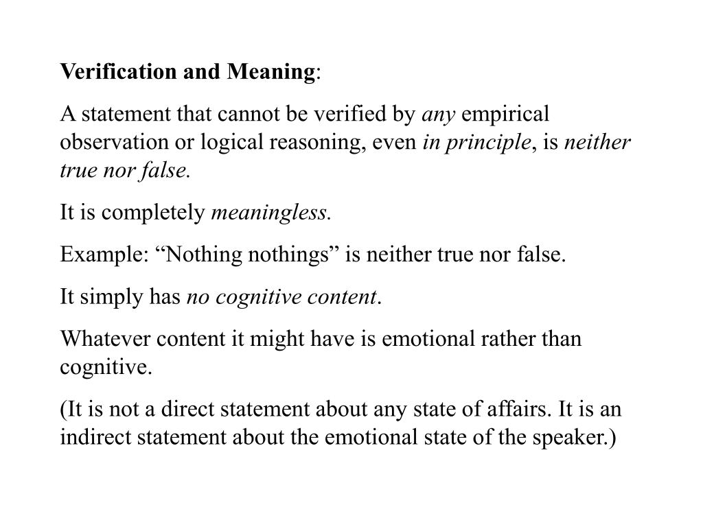 Verification and Meaning