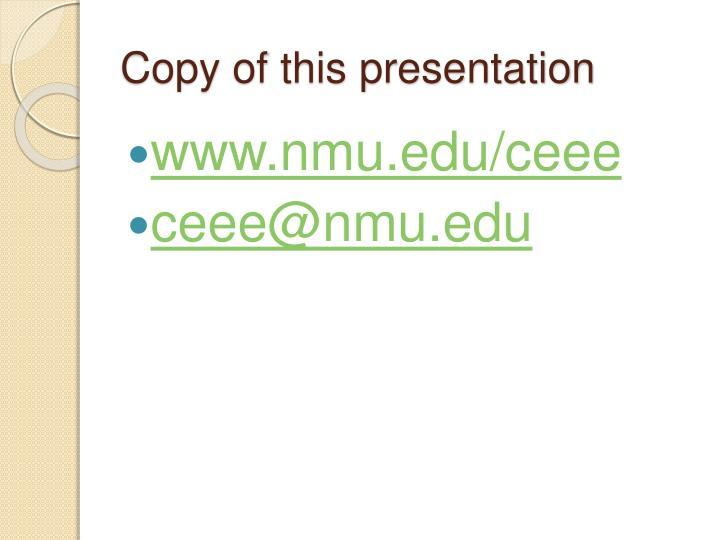 Copy of this presentation