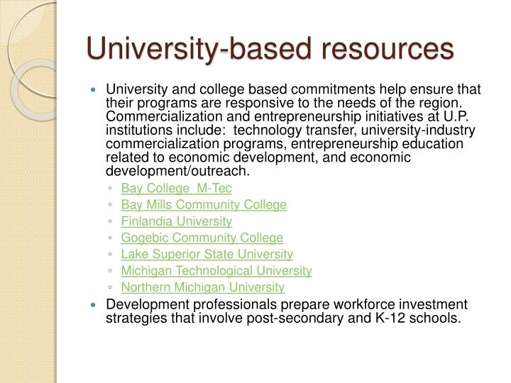 University-based resources