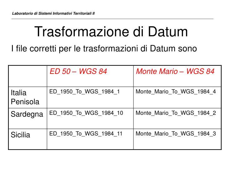 Trasformazione di Datum