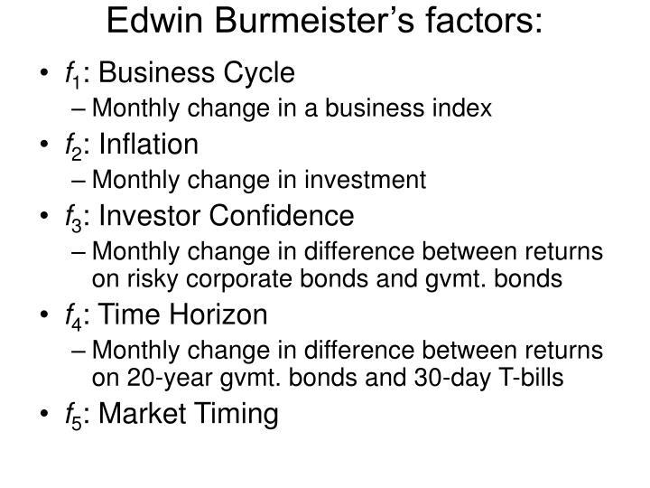 Edwin Burmeister's factors: