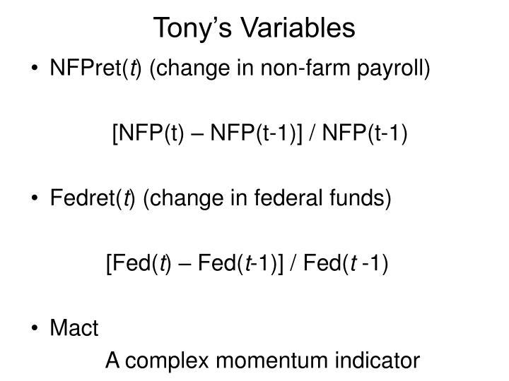 Tony's Variables