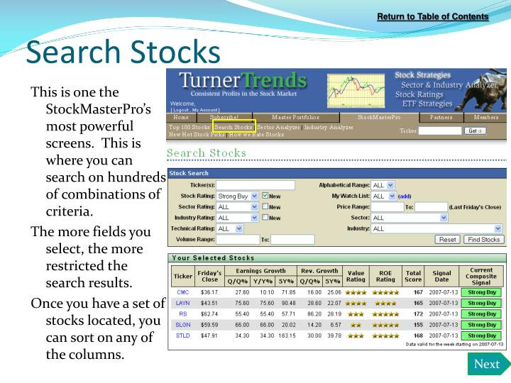 Search Stocks