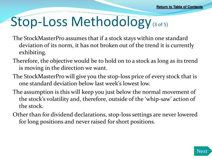 Stop-Loss Methodology