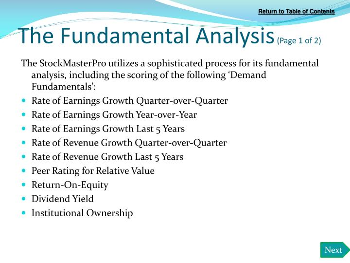 The Fundamental Analysis
