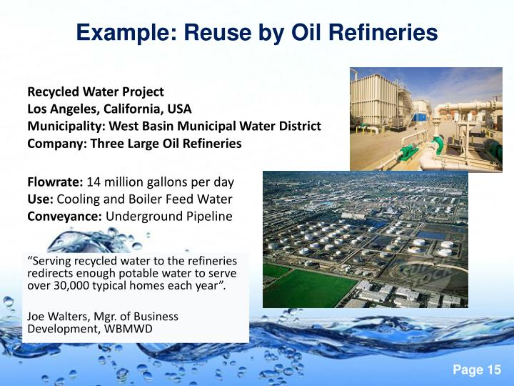 Example: Reuse by Oil Refineries