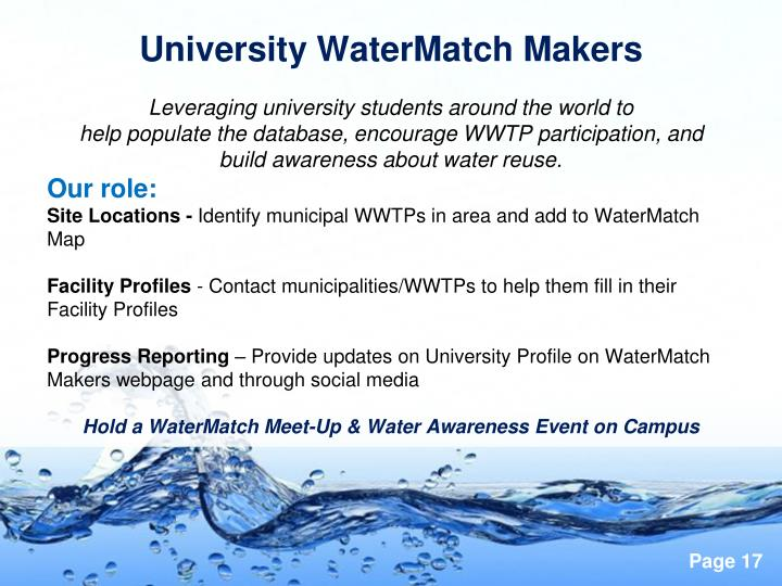 University WaterMatch Makers