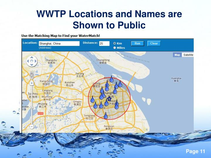WWTP Locations and Names are