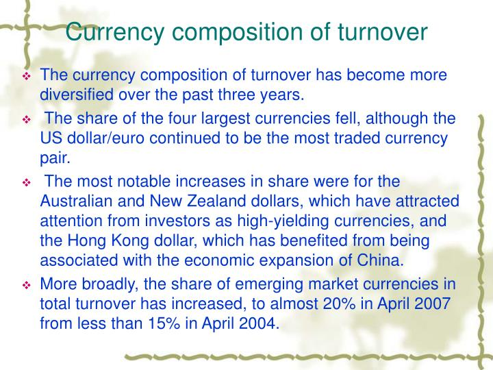 Currency composition of turnover