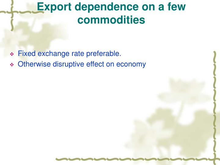 Export dependence on a few commodities