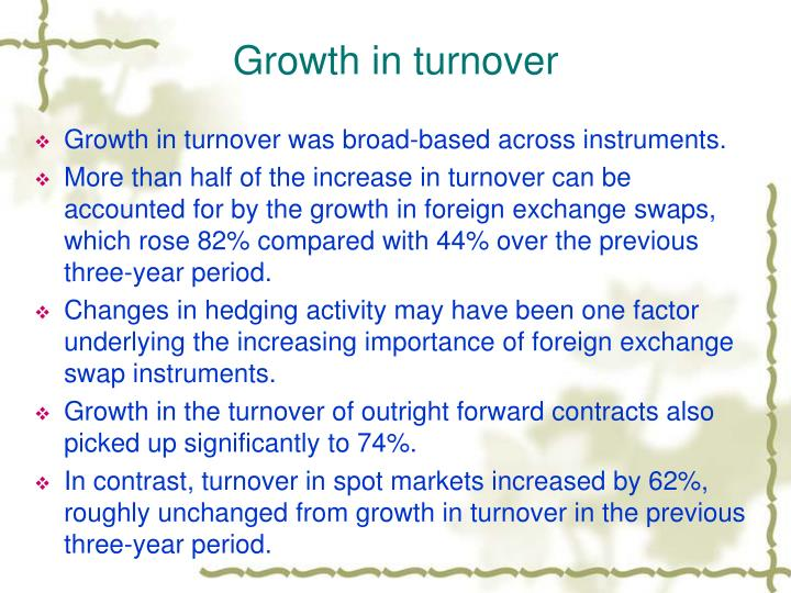 Growth in turnover