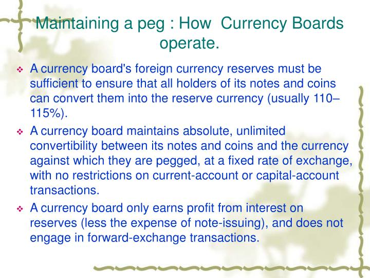 Maintaining a peg : How  Currency Boards