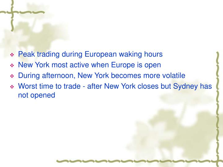 Peak trading during European waking hours