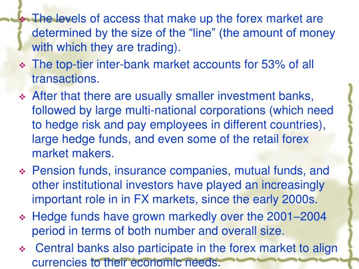 "The levels of access that make up the forex market are determined by the size of the ""line"" (the amount of money with which they are trading)."