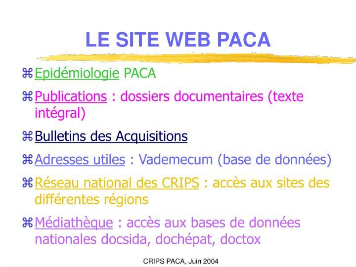 LE SITE WEB PACA