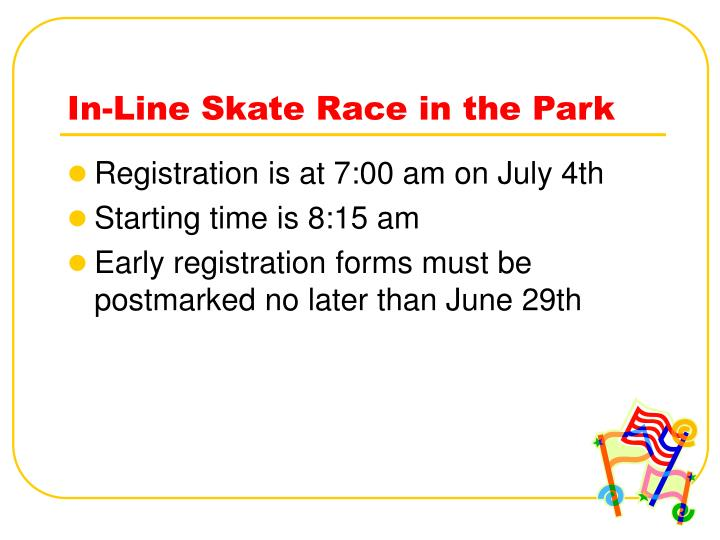 In line skate race in the park