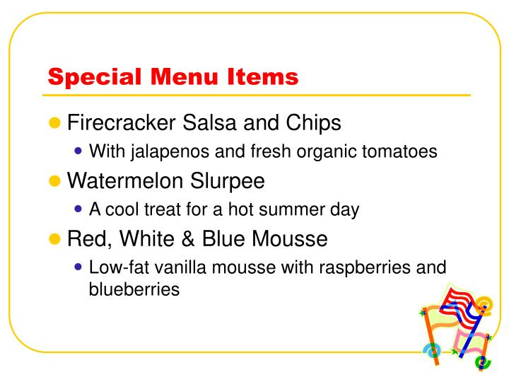 Special Menu Items