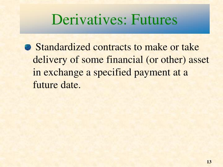 Derivatives: Futures