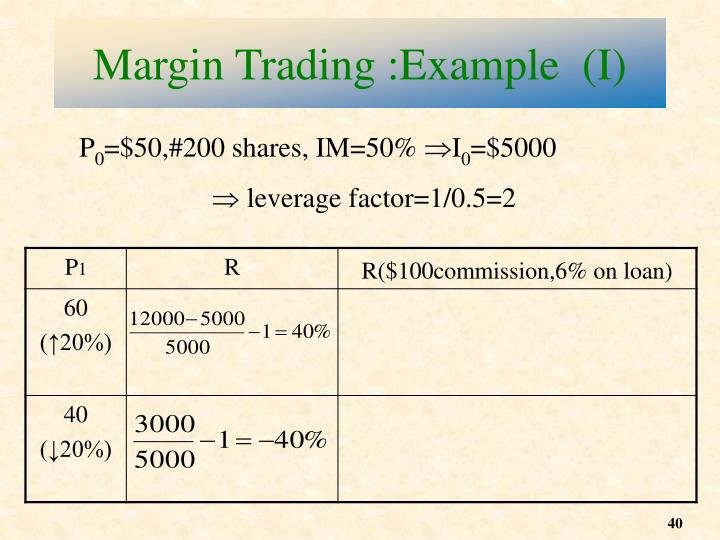 Margin Trading :Example  (I)