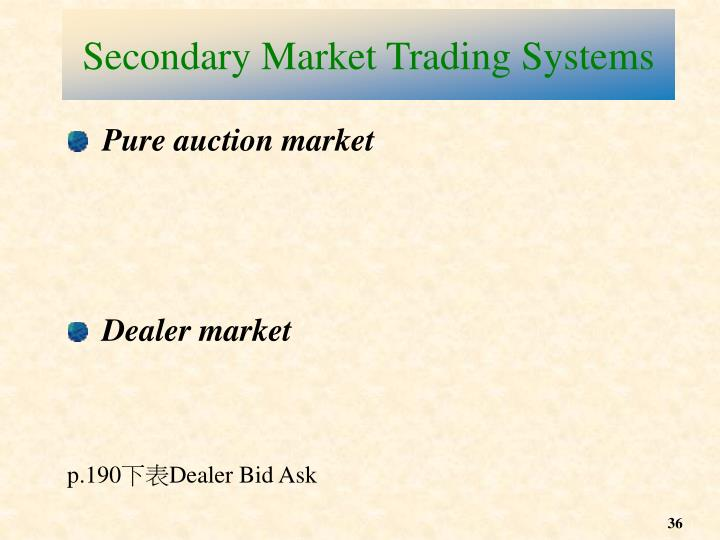 Secondary Market Trading Systems