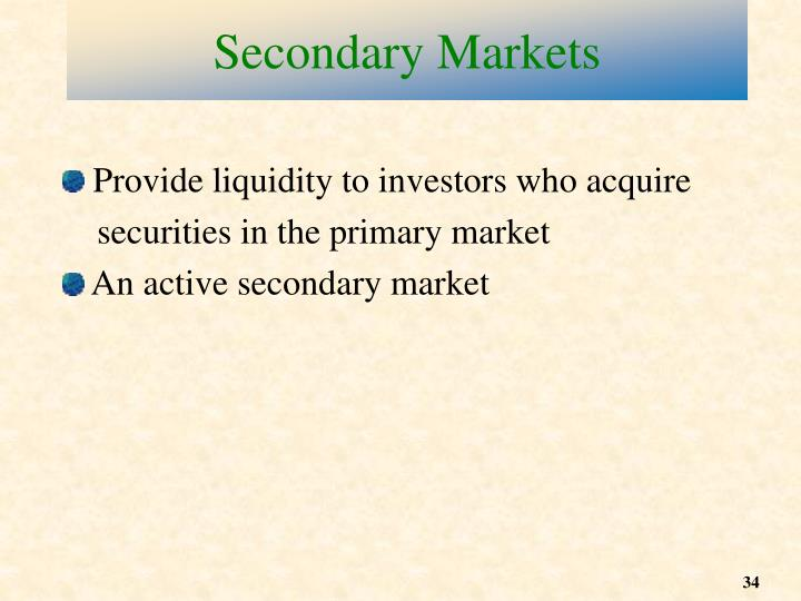 Secondary Markets