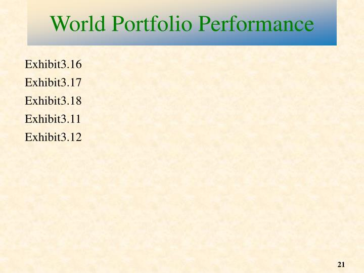 World Portfolio Performance
