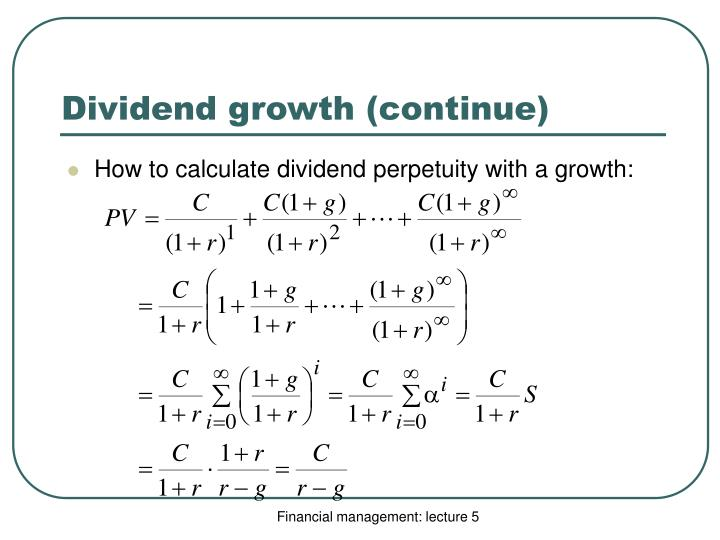Dividend growth (continue)