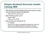 simple dividend discount model valuing ibm
