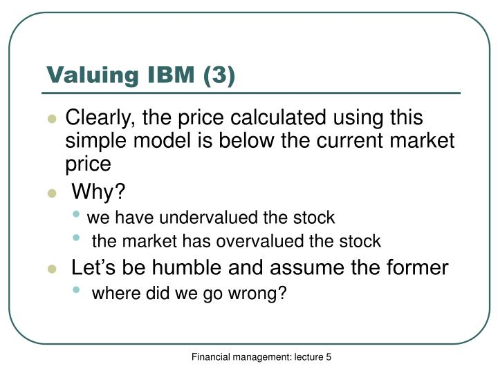 Valuing IBM (3)