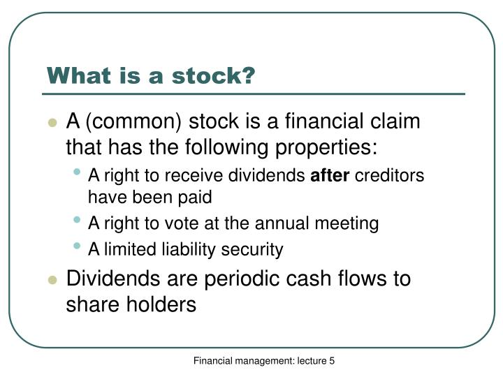 What is a stock?