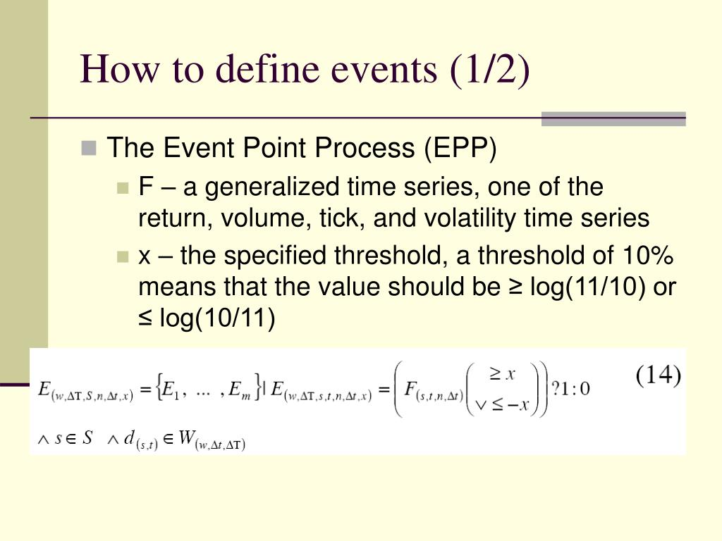 How to define events (1/2)