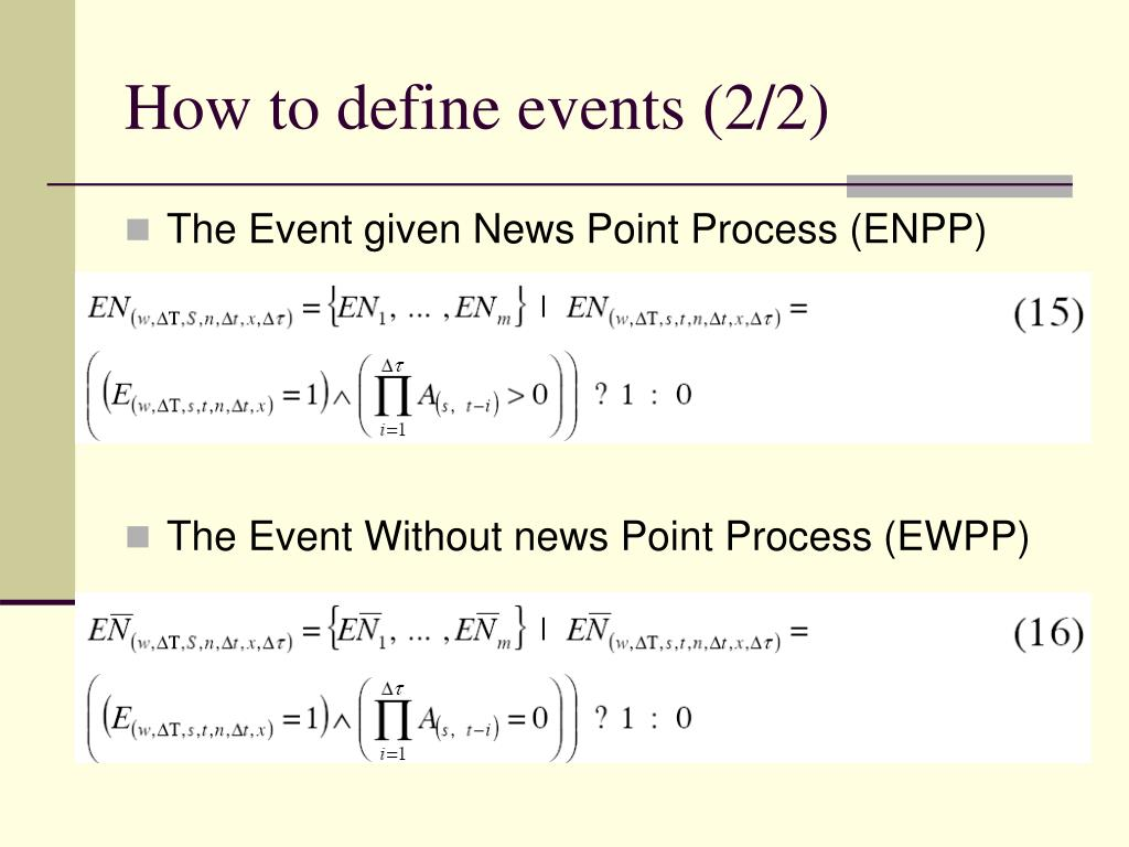 How to define events (2/2)