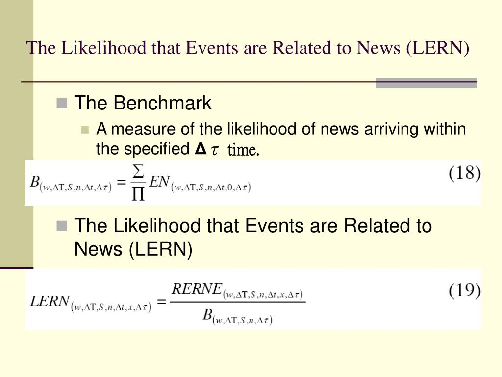 The Likelihood that Events are Related to News (LERN)