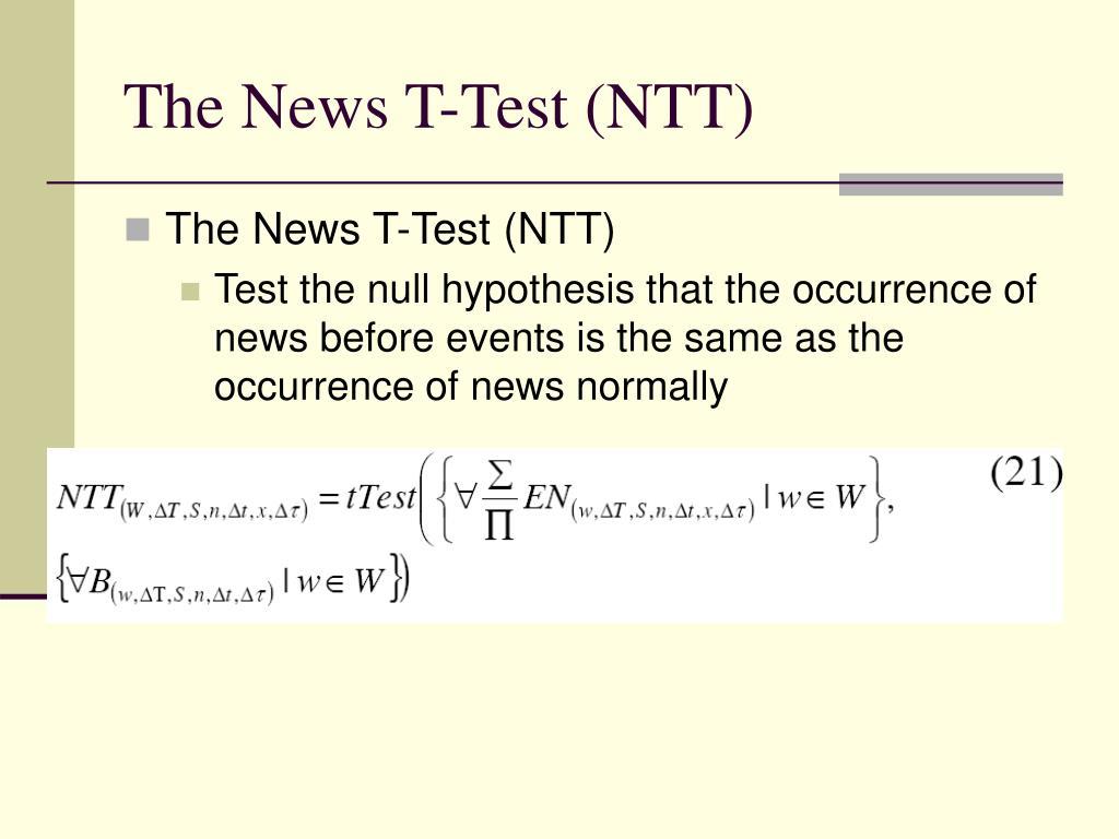 The News T-Test (NTT)