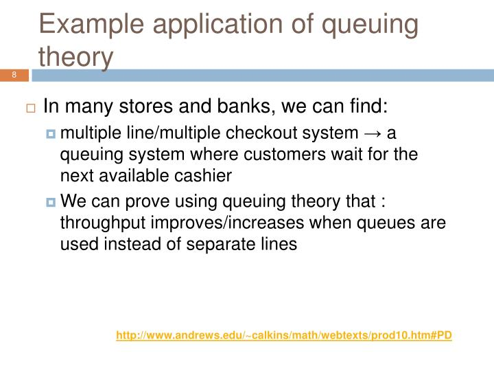 Example application of queuing theory