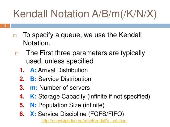 Kendall Notation A/B/m(/K/N/X)