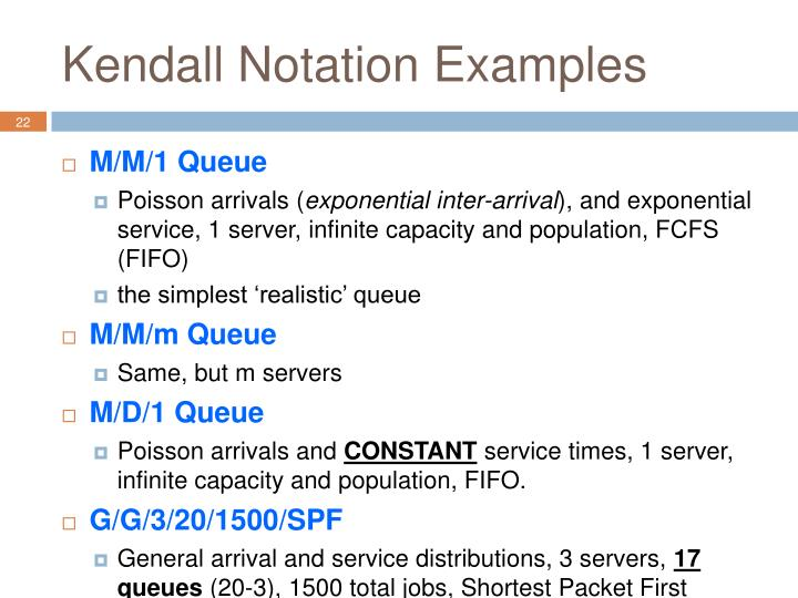 Kendall Notation Examples