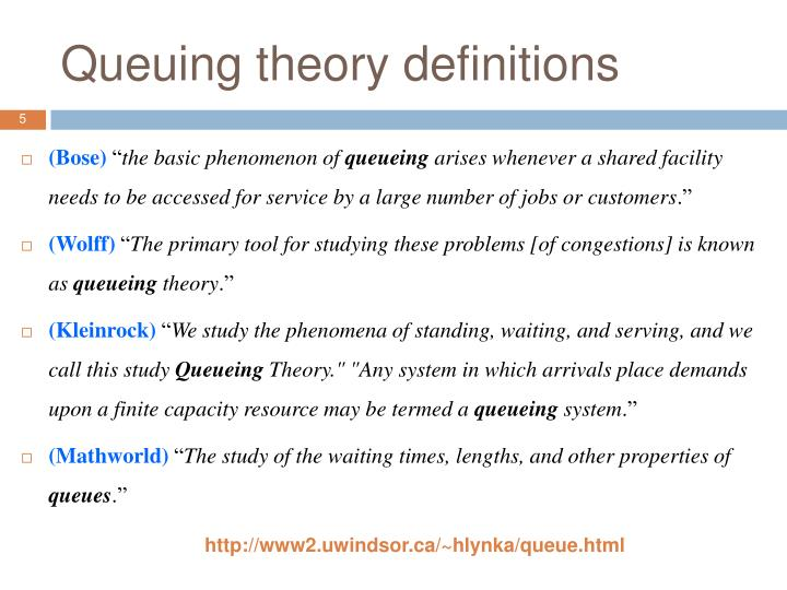 Queuing theory definitions