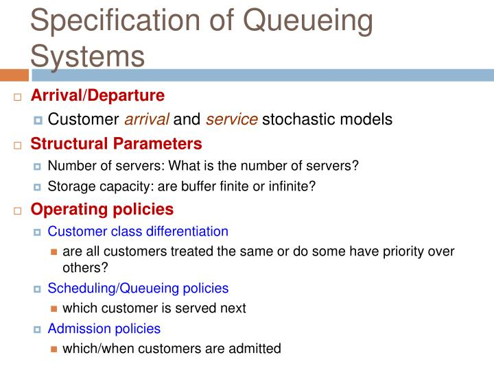 Specification of Queueing Systems