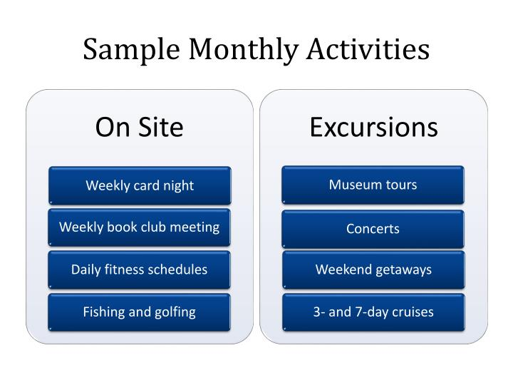 Sample monthly activities