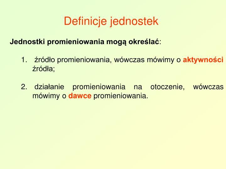 Definicje jednostek