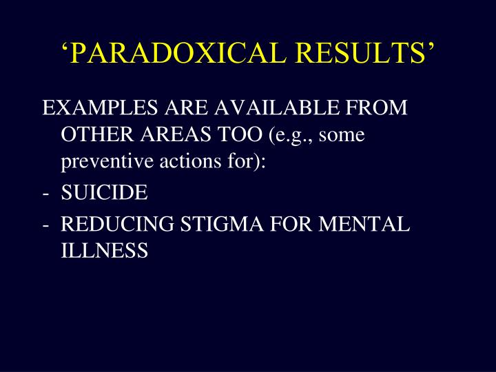 'PARADOXICAL RESULTS'