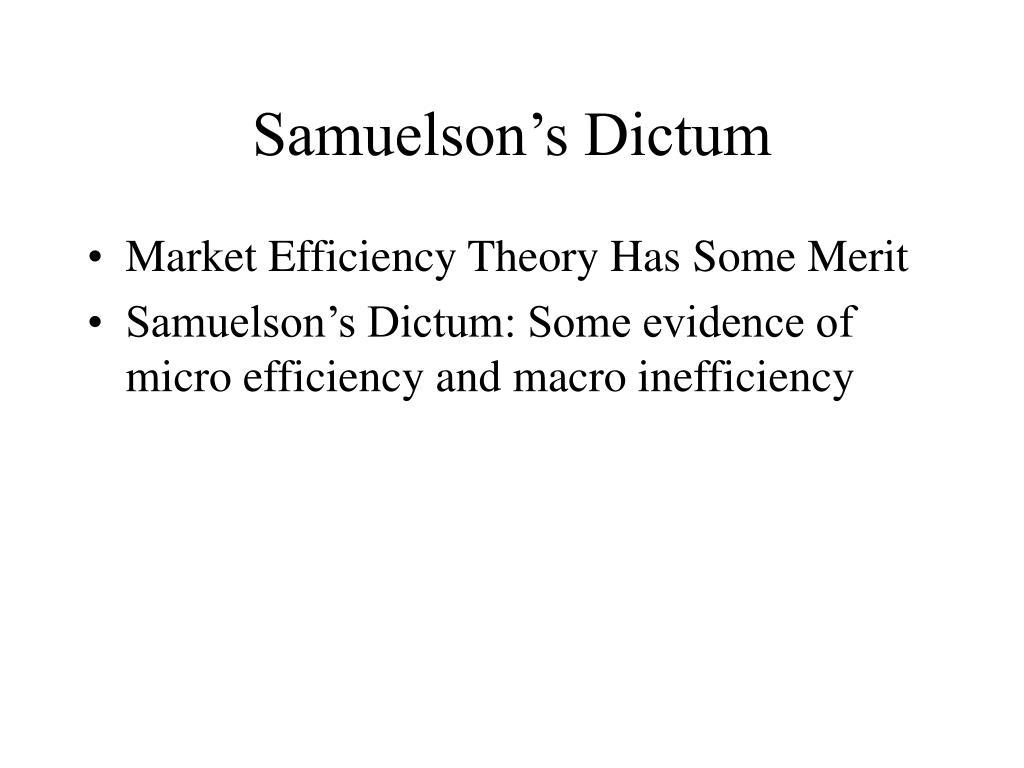 Samuelson's Dictum