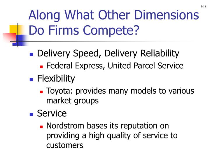 Along What Other Dimensions Do Firms Compete?