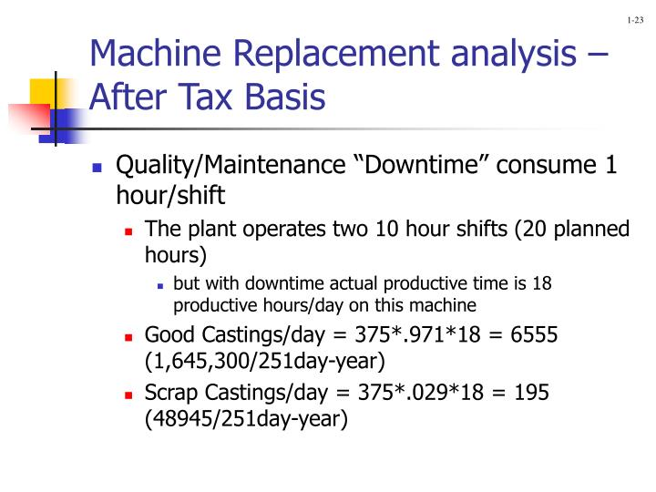 Machine Replacement analysis – After Tax Basis