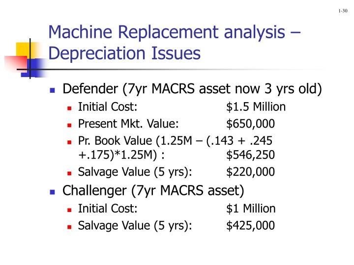 Machine Replacement analysis –Depreciation Issues