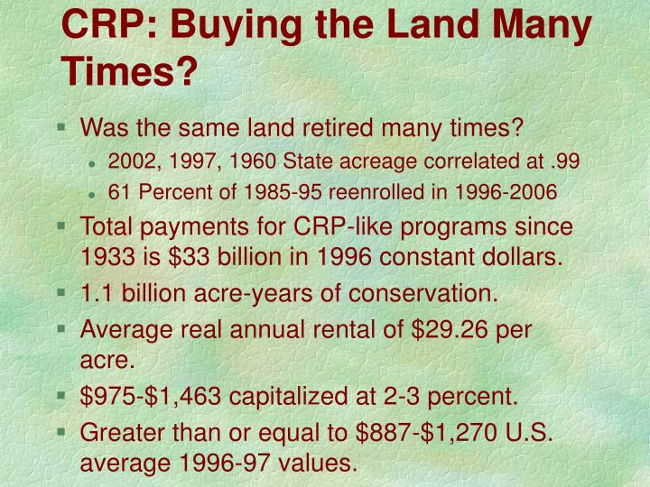 CRP: Buying the Land Many Times?