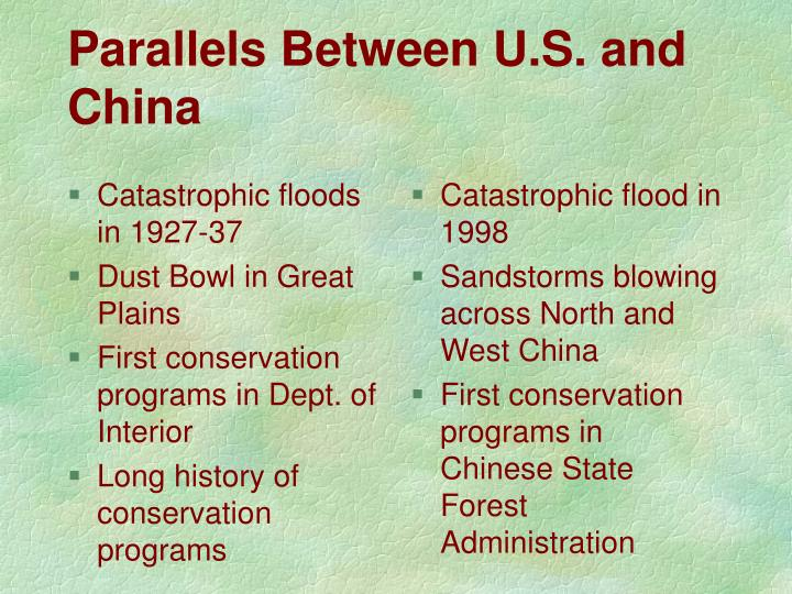 Parallels between u s and china