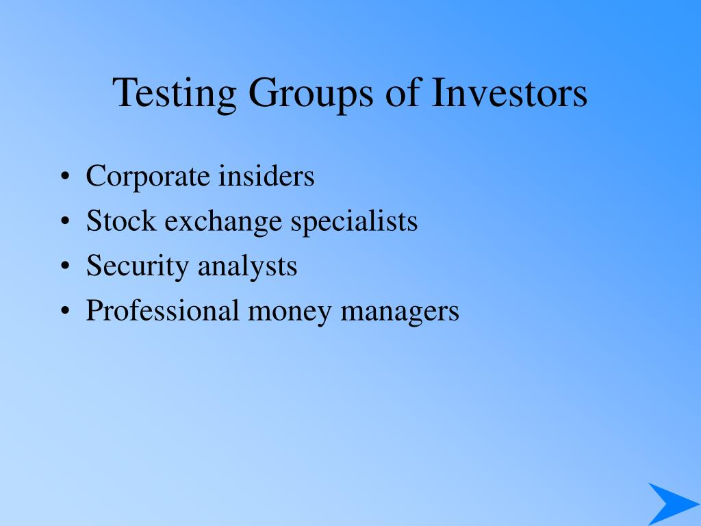 Testing Groups of Investors